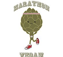 Marathon Vegan - retro running artichoke by Eggtooth