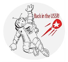 Space poster. Cosmonaut in space suit and  sputnik. Photographic Print