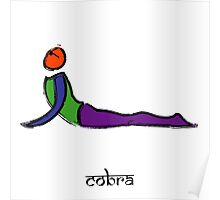 Painting of cobra yoga pose with Sanskrit text. Poster