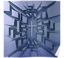 Abstract 3D Christian Cross Poster