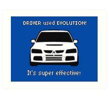 Mitsubishi Evo used Evolution It was Super Effective! Pokemon Gag Sticker / Tee - White Art Print