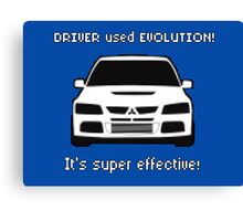 Mitsubishi Evo used Evolution It was Super Effective! Pokemon Gag Sticker / Tee - White Canvas Print