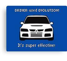 Mitsubishi Evo used Evolution It was Super Effective! Pokemon Gag Sticker / Tee - White Canvas Print