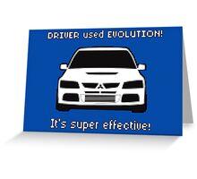 Mitsubishi Evo used Evolution It was Super Effective! Pokemon Gag Sticker / Tee - White Greeting Card