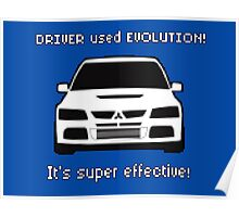 Mitsubishi Evo used Evolution It was Super Effective! Pokemon Gag Sticker / Tee - White Poster