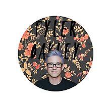 Tyler Oakley round - white  Photographic Print