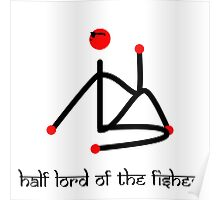 Stick figure-Half lord of the fishes yoga pose Sanskrit Poster