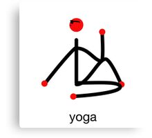 Stick figure-half lord of the fishes & yoga text. Canvas Print