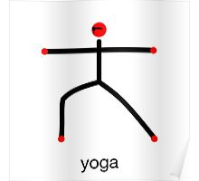 Stick figure of warrior 2 pose with yoga text. Poster
