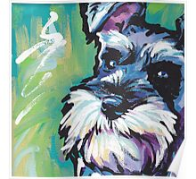 Schnauzer Bright colorful pop dog art Poster