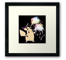 Pikachu Fireworks Framed Print