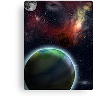 Flaming Asteroid in Space Canvas Print