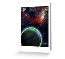 Flaming Asteroid in Space Greeting Card