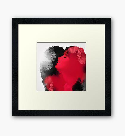 Psychedelic Ink Red Girl Framed Print