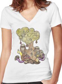 Elm Tree Women's Fitted V-Neck T-Shirt