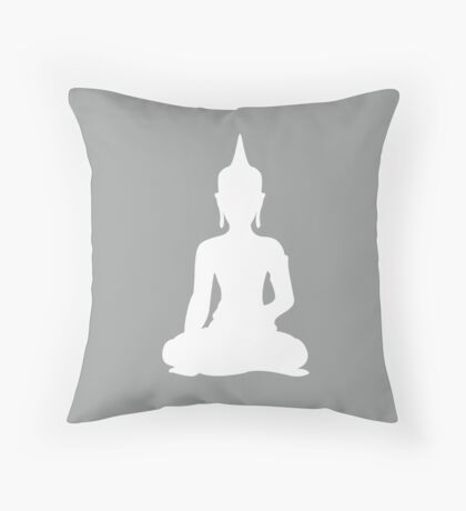 Grey Buddha Throw Pillow