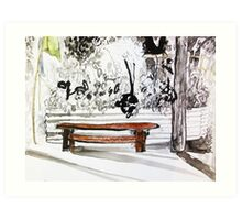 red wood bench Art Print