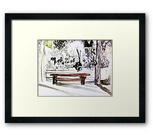 red wood bench Framed Print