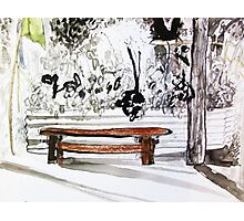 red wood bench Photographic Print