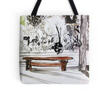 red wood bench Tote Bag