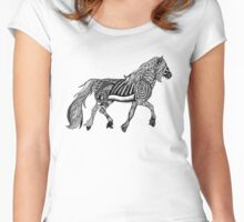 Zentangle Trotting Friesian Horse Women's Fitted Scoop T-Shirt