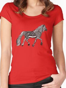 Zentangle Trotting Friesian Horse Women's Fitted Scoop T-Shirt