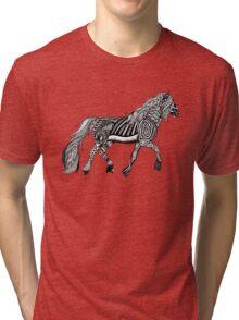 Zentangle Trotting Friesian Horse Tri-blend T-Shirt