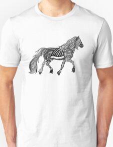 Zentangle Trotting Friesian Horse Unisex T-Shirt
