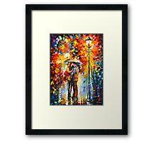 KISS UNDER THE RAIN - Leonid Afremov Framed Print
