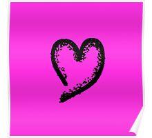Black glitter heart Poster