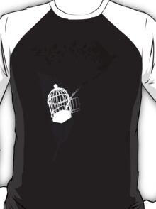 Vintage print with Edgar Alan Poe Poem and Raven Silhouette: Break Free  T-Shirt