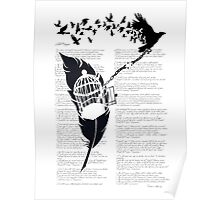 Vintage print with Edgar Alan Poe Poem and Raven Silhouette: Break Free  Poster