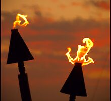 Tiki torches at sunset... by Bill Hale
