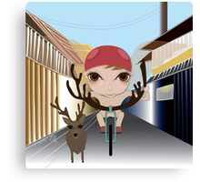 Deery Fairy Riding a Bike Canvas Print