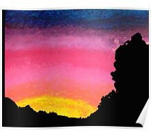 Sunset Painting with Tree Line Silhouette  Poster