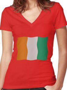Ivory Coast flag Women's Fitted V-Neck T-Shirt