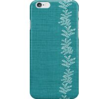 Maidenhair Fern Stripe on Teal Linen iPhone Case/Skin