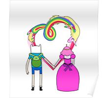 Adventure Time - Finn and Bubblegum in Love Poster
