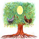Family tree egg painting by Veera Pfaffli