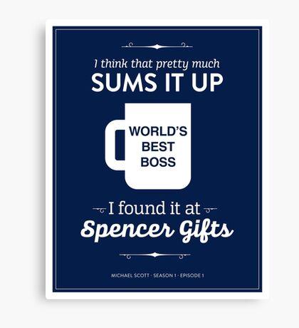 The Office Dunder Mifflin - World's Best Boss Canvas Print