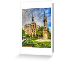 Notre Dame with Garden & Fountain Greeting Card