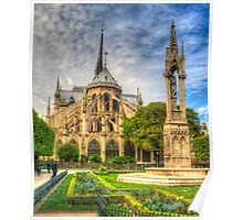 Notre Dame with Garden & Fountain Poster