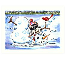 Schnauzer Snow Day Art Print