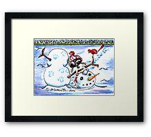 Schnauzer Snow Day Framed Print