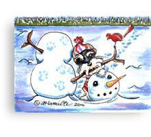 Schnauzer Snow Day Metal Print