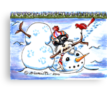 Schnauzer Snow Day Canvas Print
