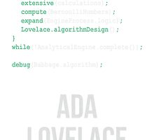 ADA LOVELACE (Light Lettering) - Clothing & Other Products by Hydrogene