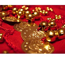 Red and Gold Coin Belt Photographic Print