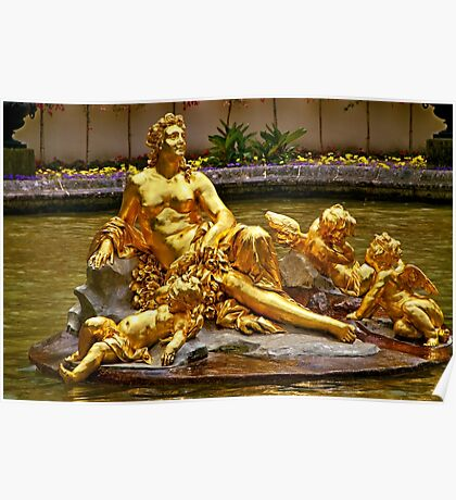 SCULPTURE IN FOUNTAIN LINDERHOF PALACE Poster