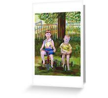 Cousins on Bikes Greeting Card